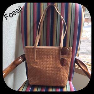 FOSSIL Woven Leather Vintage Shoulder Bag